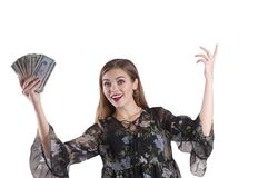 Girl with dollars isolated Stock Image