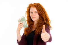 Girl with dollars and thumb up Stock Photos