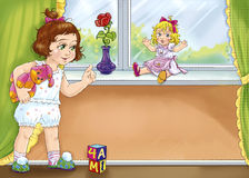 Girl with dolls. Colorful illustration of the little girl near the window with toys Stock Photography
