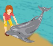 Girl with a dolphin Stock Photography