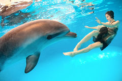 Girl and dolphin stock photos
