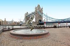 Fountain Tower bridge Stock Photo