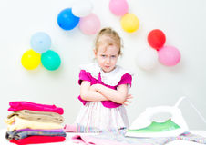 Girl Dont Want To Iron Royalty Free Stock Image