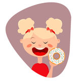 Girl with donut. Cute Girl holding a donut.Flat illustration Stock Images