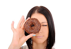Girl with a donut Royalty Free Stock Photos