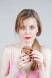 Girl with donut Royalty Free Stock Photos