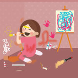 Girl doodling drawing on wall, messy house Stock Images