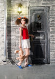 Girl at the door Royalty Free Stock Image
