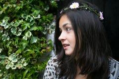 Girl in the door of a garden Stock Photos
