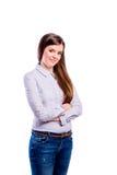 Girl in dotted shirt, young beautiful woman, studio shot Stock Images