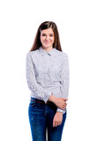 Girl in dotted shirt, young beautiful woman, studio shot Royalty Free Stock Image