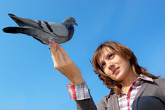 Girl and the dove Stock Photography
