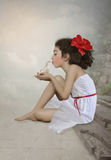 Girl and dove Stock Photos