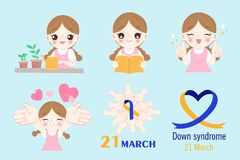 Girl with down syndrome. Concept on the blue background Royalty Free Stock Photo
