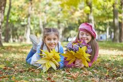 Girl with Down syndrome and little girl in autumn park. royalty free stock image