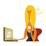 Girl downloading and listening music Stock Photography