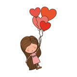 Girl dragged by heart-shaped balloons Stock Photos