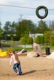 Girl dragging flying fox Stock Photo