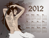 Girl dragon calendar 2012. 2012 year calendar, girl with dragon tattoo stock illustration