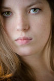 Girl Dramatic Face Closeup Stock Photo