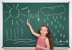 Girl draw circulation of water on board. Girl draw water circulation scheme on board Stock Image