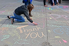 Girl draw the graffiti in Boston, USA, Stock Photo