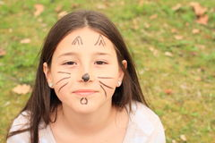 Girl drawen as a cat Stock Image