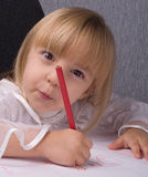 Girl drawing Royalty Free Stock Photography