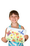 The girl with drawing Stock Photo