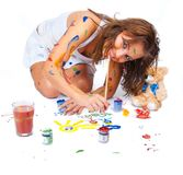 Girl drawing Royalty Free Stock Images
