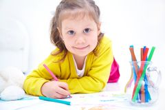 Girl is drawing Stock Image