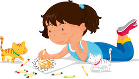 Girl drawing. An illustration of a girl drawing a picture Royalty Free Stock Photo