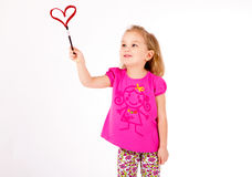 Girl drawing in the air royalty free stock photos