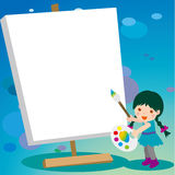 Girl and drawing board. Girl standing drawing board frame Stock Images