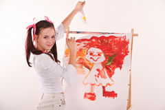 Girl drawing breaks Stock Photo
