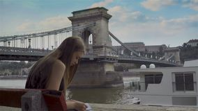 Girl drawing in Budapest stock video