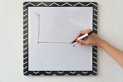 A girl is drawing a chart on a white board. Female hand with a marker.  Royalty Free Stock Image