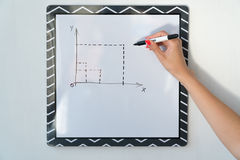 A girl is drawing a chart on a white board. Female hand with a marker.  Stock Image