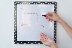 A girl is drawing a chart on a white board. Female hands with a marker.  Royalty Free Stock Photo