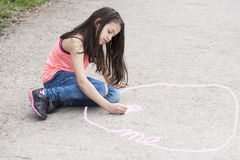 Girl drawing circle of intimate zone Stock Photography