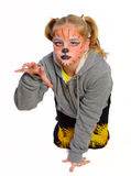 Girl with drawing by mask tiger Stock Photo