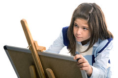 Girl drawing and painting Royalty Free Stock Photo