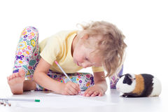 Girl drawing with pencils Royalty Free Stock Image