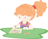 A Girl Drawing Picture royalty free stock image