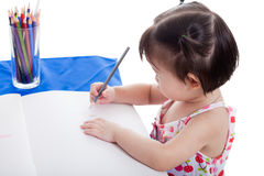 Girl drawing picture stock photo