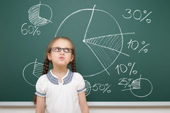 Girl drawing pie chart on school board Stock Images