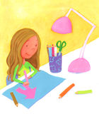 Girl drawing a pink house Royalty Free Stock Photo