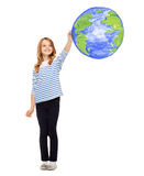 Girl drawing planet earth in the air Stock Photography
