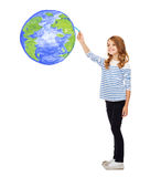 Girl drawing planet earth in the air Royalty Free Stock Photo