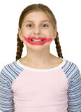 Girl with drawing smile clown Royalty Free Stock Photo
